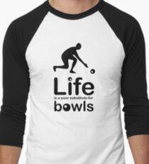 Bowls v Life - Black Graphic Men's Baseball ¾ T-Shirt