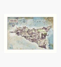 Sicily - Jean Passepartout Maps Art Print