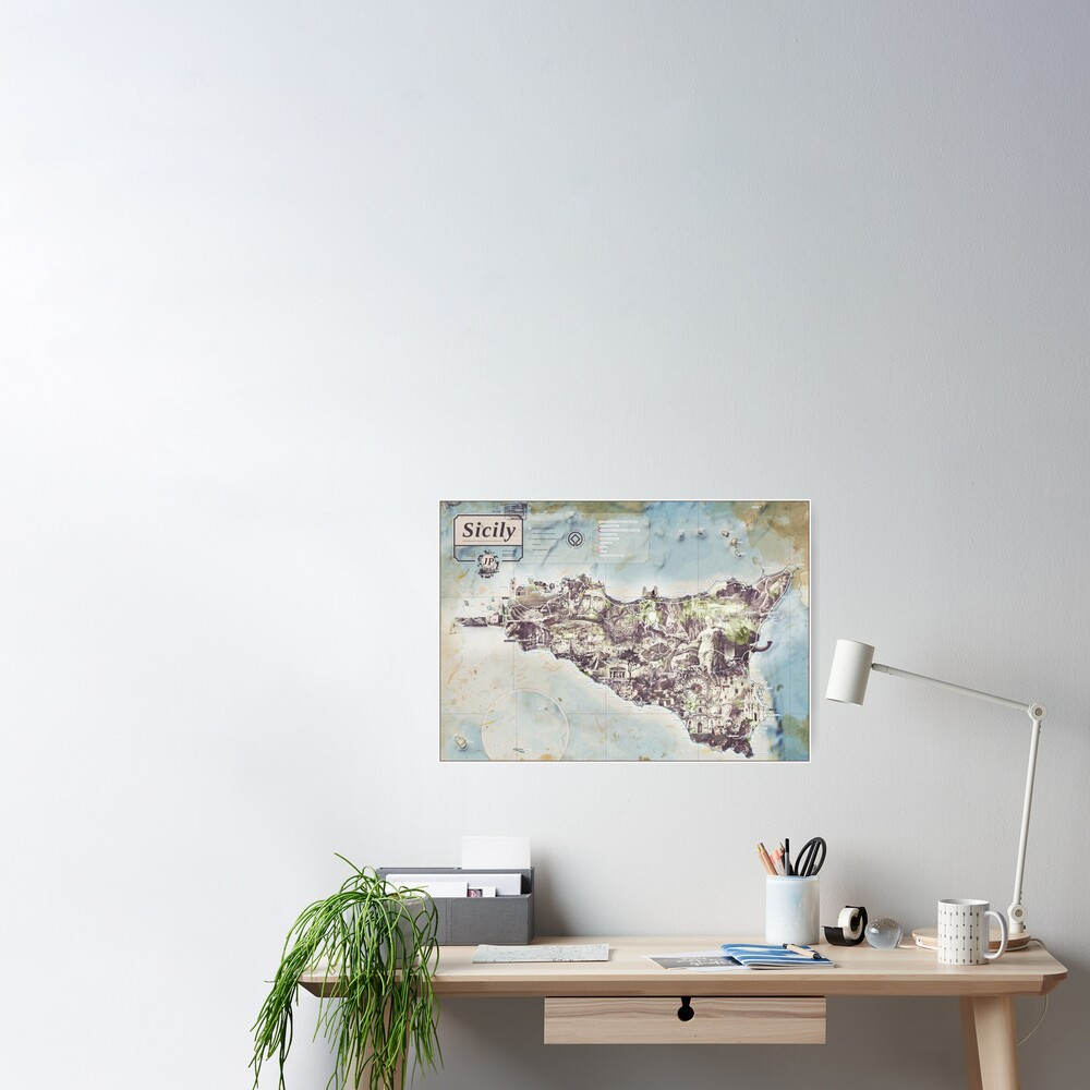 Sicily - Jean Passepartout Maps Poster