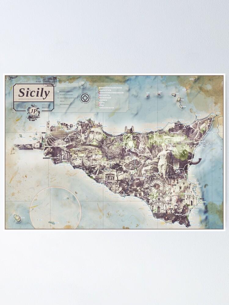 Alternate view of Sicily - Jean Passepartout Maps Poster