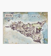 Sicily - Jean Passepartout Maps Photographic Print