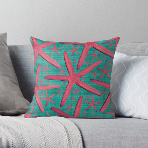 Starfish in Turquoise and Pink Throw Pillow