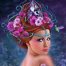 Fantasie-Frau und rote Blumen, Modeporträt von Alena Lazareva