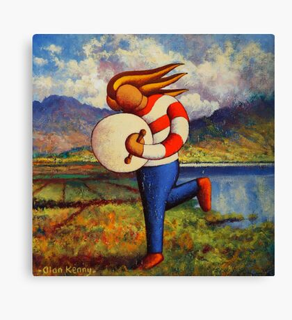 Bodhran player in  impasto  landscape   Canvas Print