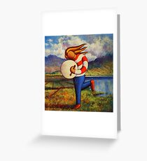 Bodhran player in  impasto  landscape   Greeting Card