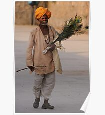 Peacock feather salesman, Rajasthan Poster