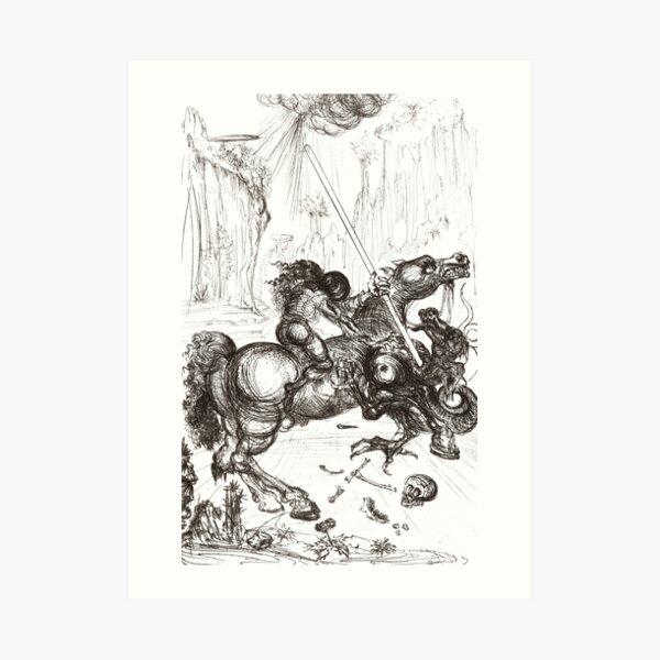 Salvador Dali - Saint George and the Dragon 1946 Artwork - For Wall Art, Prints, Poster, Men Women and Kids Art Print