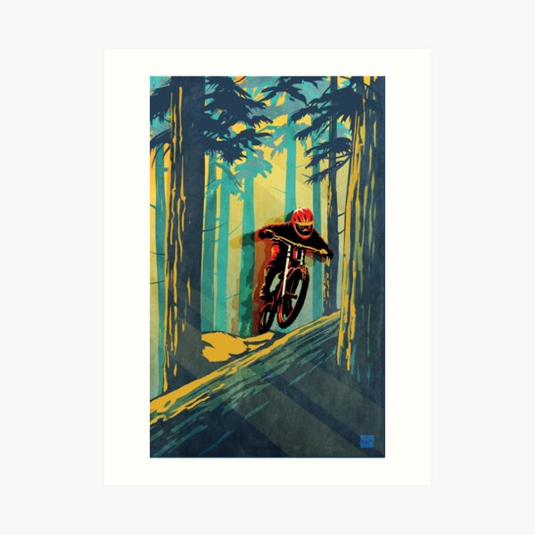 Forest log mountain bike ghost jumper Art Print