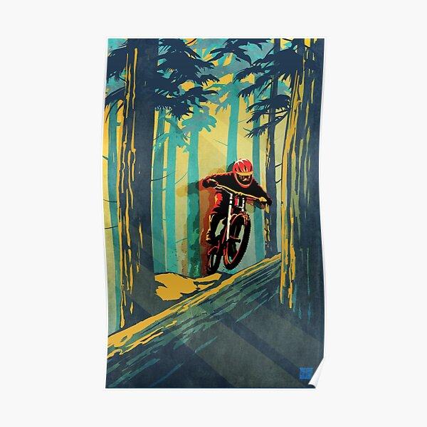 Cavalier de fantôme de vélo de montagne de notation de forêt Poster