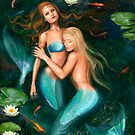 Beautiful fantasy princess mermaids in lake with lilies underwater background by Alena Lazareva