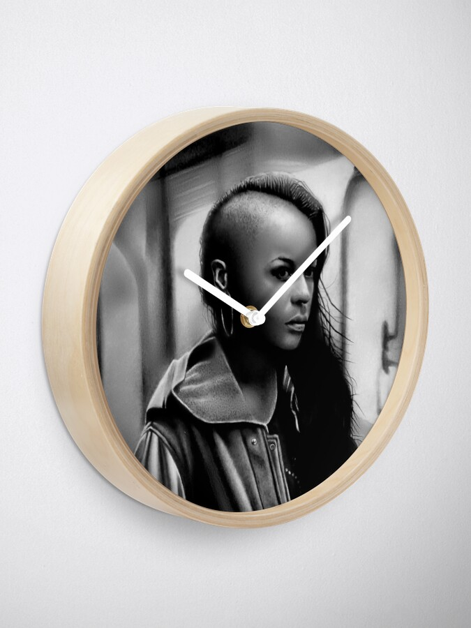 Alternate view of In Transit (Graphite drawing) Clock