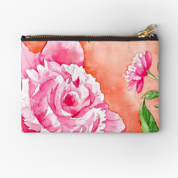 Watercolor Flowers in a circle - peony Zipper Pouch