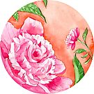 Watercolor Flowers in a circle - peony by Magdalena Żołnierowicz