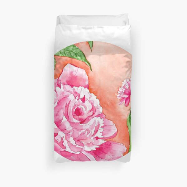 Watercolor Flowers in a circle - peony Duvet Cover