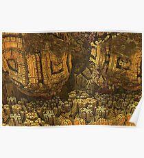 Escheristic Aztec City Poster