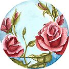 Watercolor Flowers in a circle - roses by Magdalena Żołnierowicz