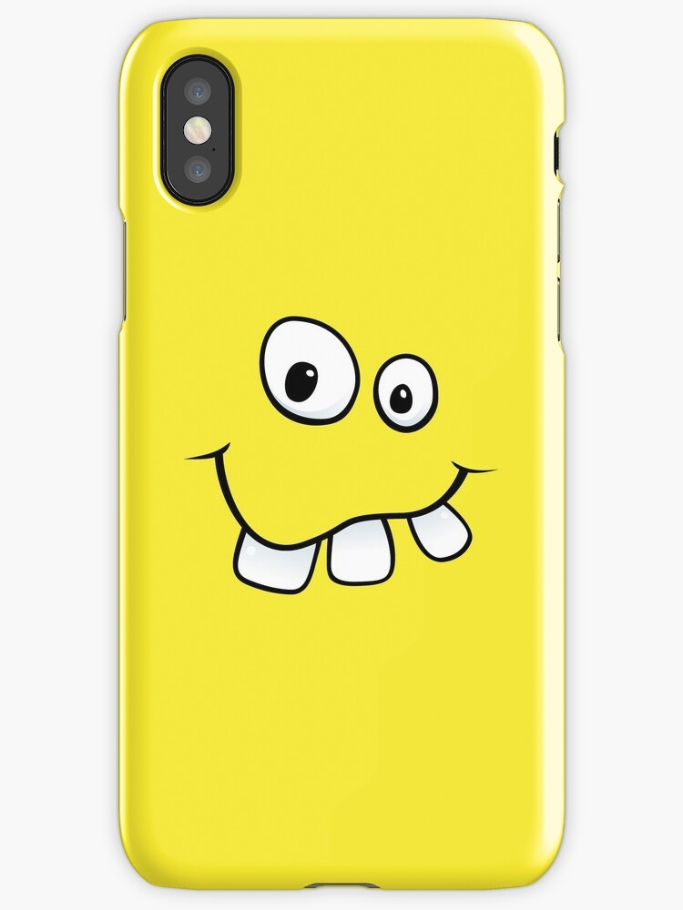 Silly, goofy face with big teeth yellow iPhone case by Mhea