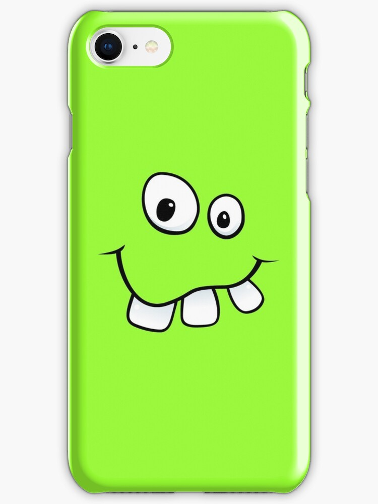 Silly, goofy face with big teeth green iPhone case by Mhea