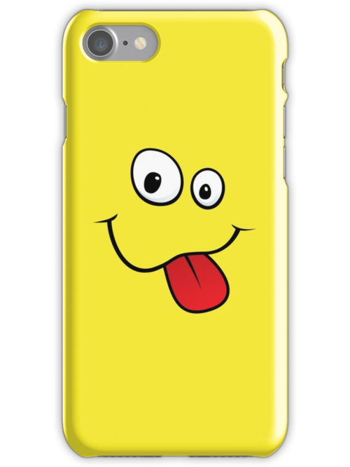 Silly teasing face sticking out tongue yellow iPhone case by Mhea