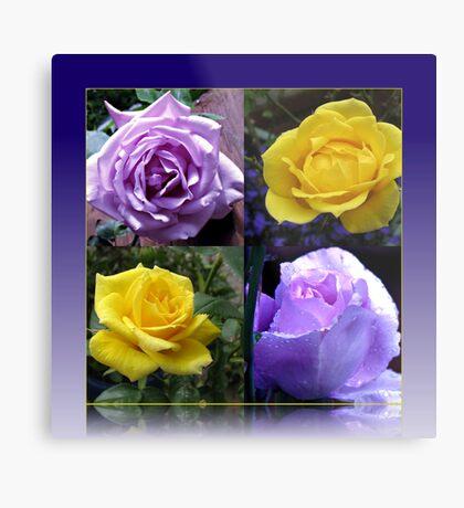Exquisite Roses Collage Metallbild