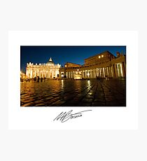 St. Peter's Square at Night - Vatican State Italy Photographic Print
