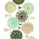 Retro feel circular flowers with patterns and triangle leaves  by SJMcDermott