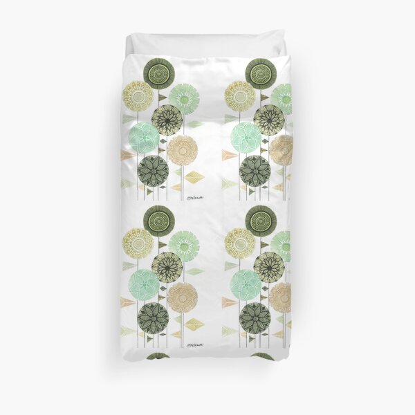 Retro feel circular flowers with patterns and triangle leaves  Duvet Cover