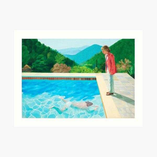david hockney pool with two figures Art Print