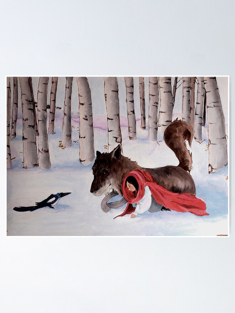 Alternate view of little Red Riding Hood, wolf and magpie Poster