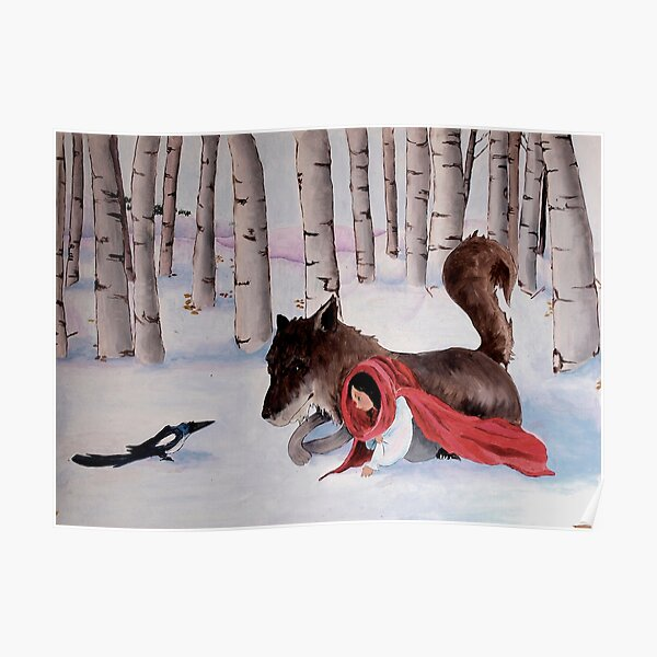 little Red Riding Hood, wolf and magpie Poster