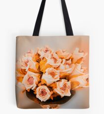 Roses in a silver vase  Tote Bag