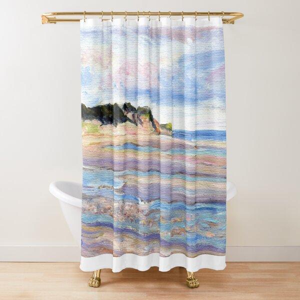Tidal Flats, Cape Cod, National Seashore, Wellfleet, Beach, Dunes, Ocean, Pamela Parsons, oil painting, Massachusetts coast Shower Curtain