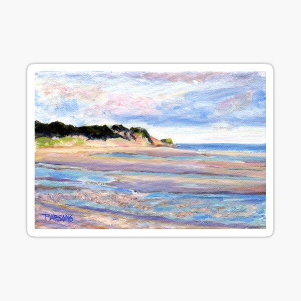 Tidal Flats, Cape Cod, National Seashore, Wellfleet, Beach, Dunes, Ocean, Pamela Parsons, oil painting, Massachusetts coast Sticker