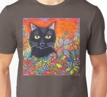 Black Cat and Flowers Unisex T-Shirt