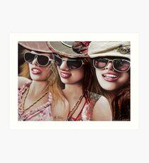 """Three Glam Girls"" Mixed Media Portrait Painting Art Print"