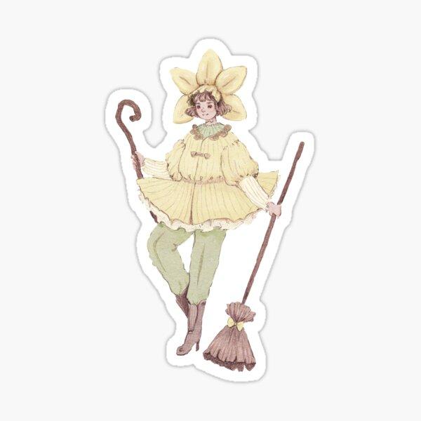 Pastel  Yellow Daffodil Witch  Sticker