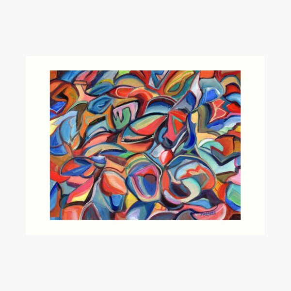 Dancing Shoes, abstract expressionist acrylic painting by Pamela Parsons. Dance Art Print