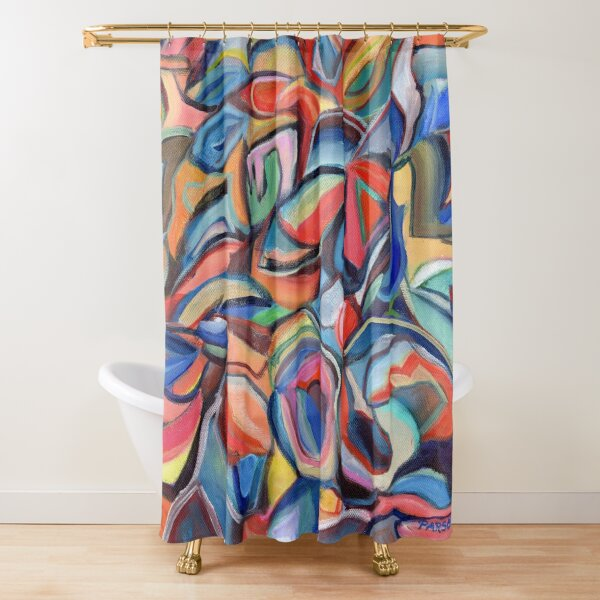 Dancing Shoes, abstract expressionist acrylic painting by Pamela Parsons. Dance Shower Curtain