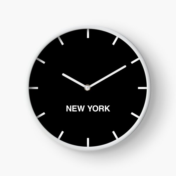 New York Black Time Zone Newsroom Wall Clock Clock