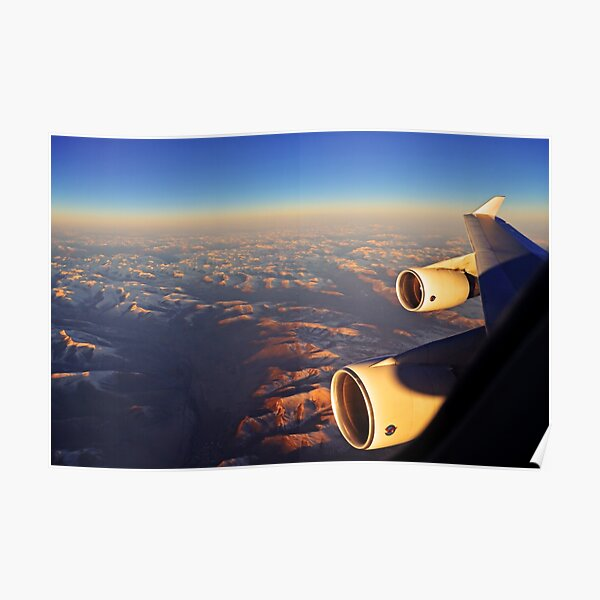 Boeing 747 wing view over the Himalayas during sunset Poster