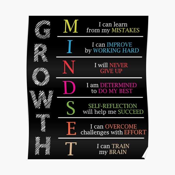 Growth Mindset Positive Motivational Gift Poster