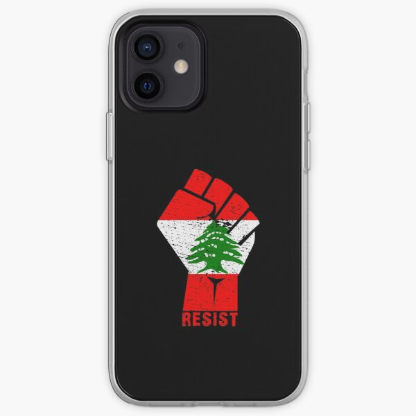Lebanon Resist Fist Flag Lebanese Revolution Protest March Gift iPhone Soft Case