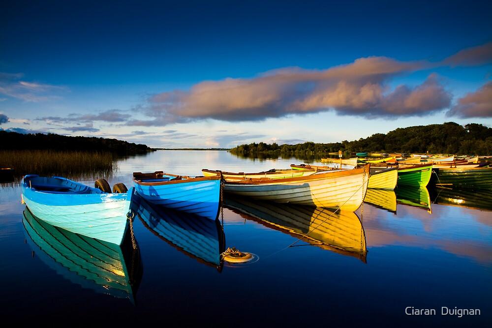 Boats at dusk on Lough Conn, Mayo, Ireland by Ciaran  Duignan