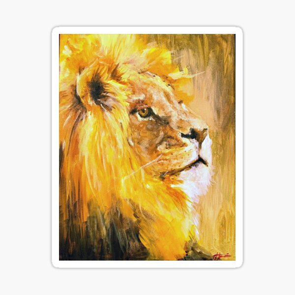 Be Fierce - lion painting by me Sticker