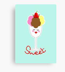 Cute Fun Ice Cream Sundae Sweet Canvas Print