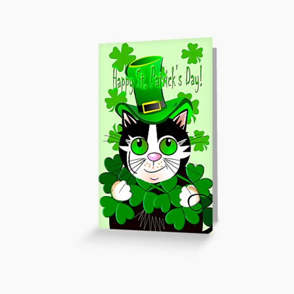Happy St. Patrick's Day card with green eyed cat Greeting Card