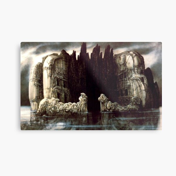 H.R Giger - Isle of The Dead Metal Print
