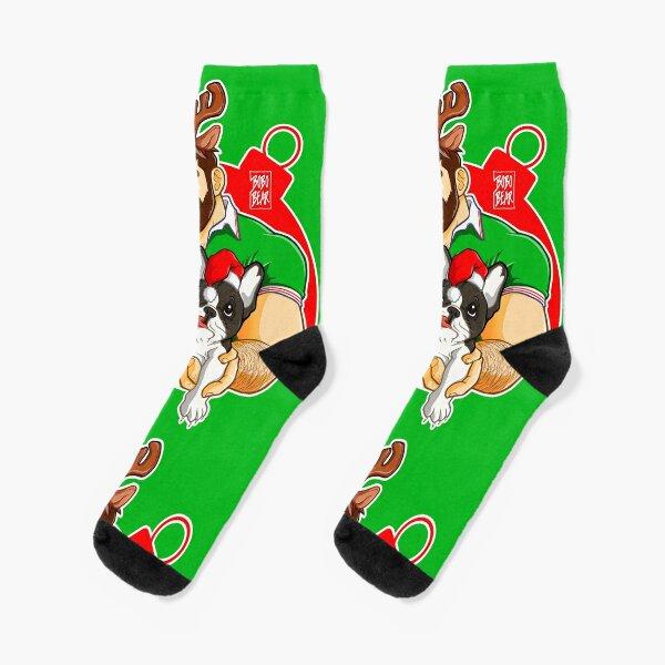 XMAS - ADAM LIKES FRENCHIES - FOR GREEN TEE Socks
