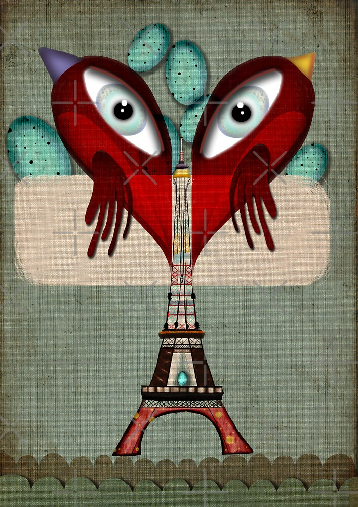 Paris Love Collection Eiffel Tower Birds in love by rupydetequila