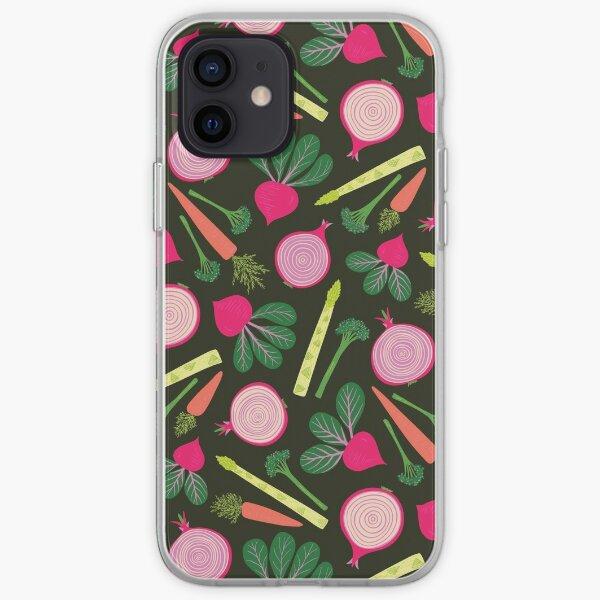 Veg Patch Pattern on Dark iPhone Soft Case